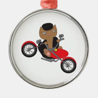 Motorcycle Biker Cat Metal Ornament