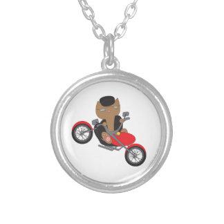 Motorcycle Biker Cat Round Pendant Necklace