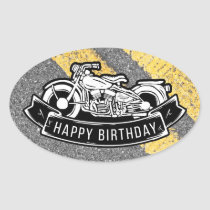 Motorcycle Biker Happy Birthday Party Gift & Favor Oval Sticker