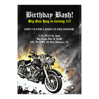 Motorcycle Biker Road Birthday Bash Invitation