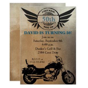 Motorcycle Birthday Invitation Adult For Men