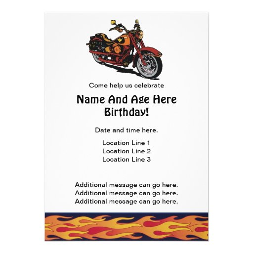 Personalized harley invitations custominvitations4u motorcycle birthday invites filmwisefo Image collections