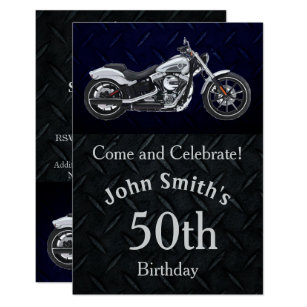 Motorcycle Birthday Party Mens Invitations