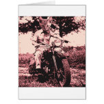 Motorcycle cat greeting card