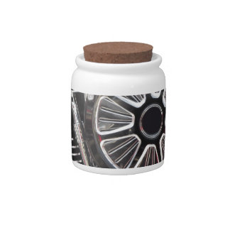 Motorcycle chromed engine detail background candy jars