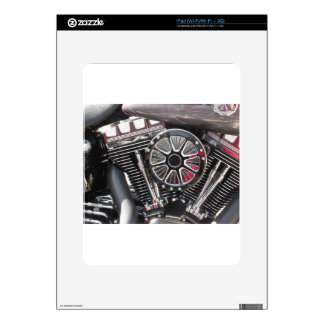 Motorcycle chromed engine detail background decal for iPad