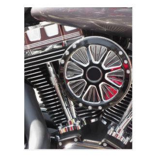 Motorcycle chromed engine detail background postcard