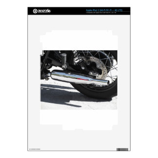 Motorcycle chromed exhaust pipe . Side view iPad 3 Decals