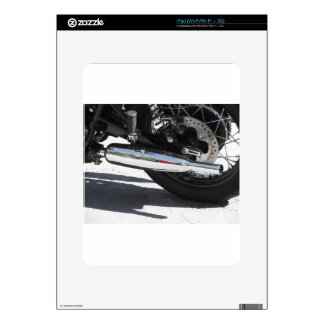 Motorcycle chromed exhaust pipe . Side view Skins For The iPad
