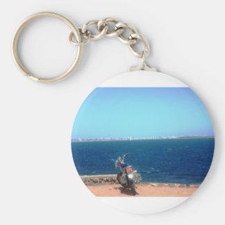 Motorcycle Cliff Basic Round Button Keychain