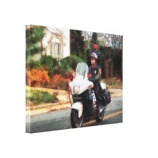 Motorcycle Cop on Patrol Canvas Print