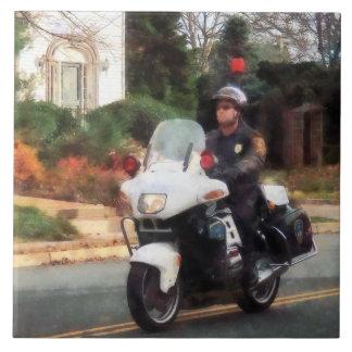 Motorcycle Cop on Patrol Ceramic Tile
