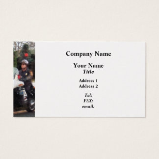 Motorcycle Cop on Patrol - Platinum Finish Business Card