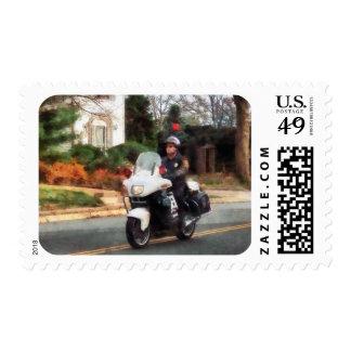 Motorcycle Cop on Patrol Postage
