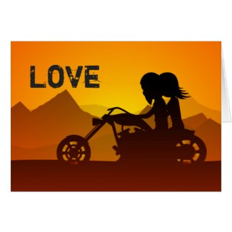 Motorcycle Couple LOVE Valentine's Day Card