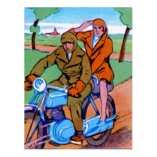 Motorcycle Couple Postcard
