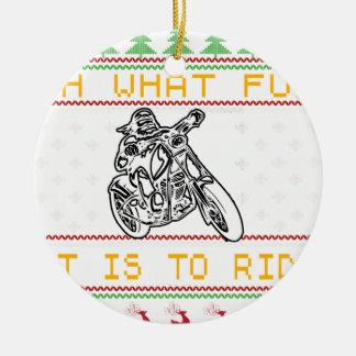 motorcycle design cut ceramic ornament