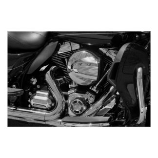 Motorcycle engine black and white image poster