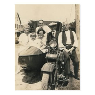 motorcycle family and sidecar postcards