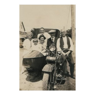 motorcycle family and sidecar poster