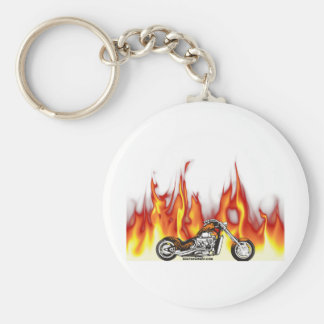Motorcycle Fire Basic Round Button Keychain