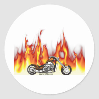 Motorcycle Fire Classic Round Sticker