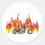 Motorcycle Fire Round Sticker