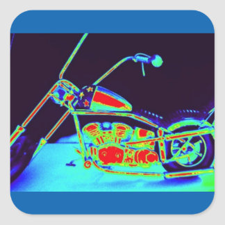 Motorcycle, funy photograph with a digital touch square sticker