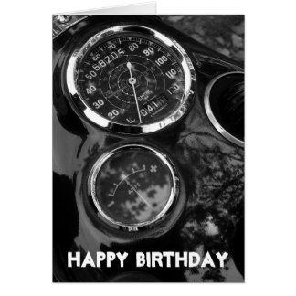 Motorcycle Gauges - Birthday Greeting Card