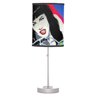 'Motorcycle Girl' on a table lamp