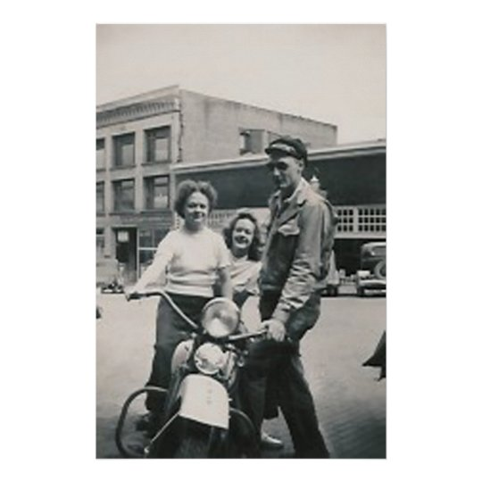 motorcycle guy and 2 girls poster