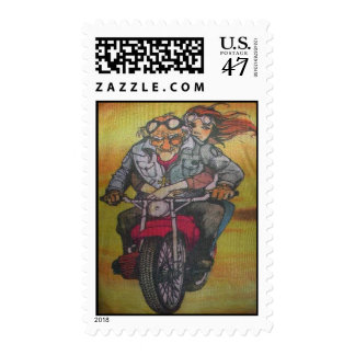 motorcycle guy postage