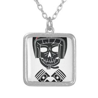 Motorcycle Helmet Skull 1%er Silver Plated Necklace