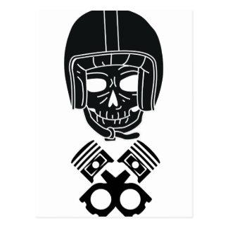 Motorcycle Helmet Skull Postcard