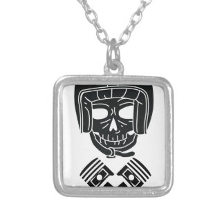 Motorcycle Helmet Skull Silver Plated Necklace