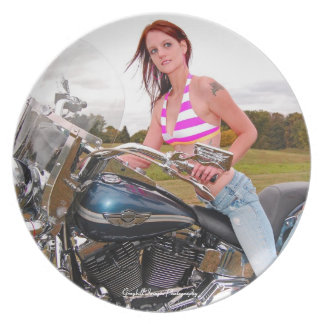 Motorcycle Hottie Melamine Plate
