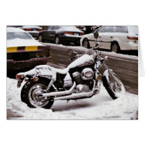 'Motorcycle in Winter' Holiday Card - Christmas