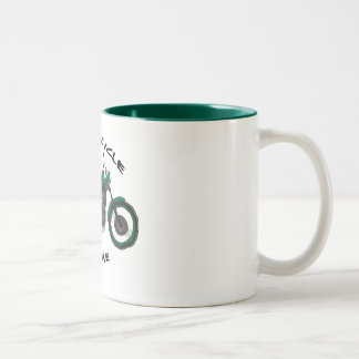 motorcycle junkie Two-Tone coffee mug
