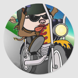 Motorcycle Lady Round Sticker