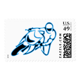 Motorcycle Logo Black with Neon Blue Lines Postage Stamp