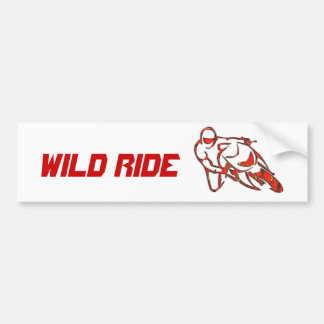 Motorcycle Logo Leaning Into Curve Red Streaks Car Bumper Sticker