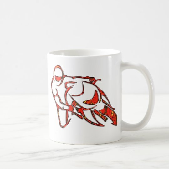 Motorcycle Logo Leaning Into Curve Red Streaks Coffee Mug