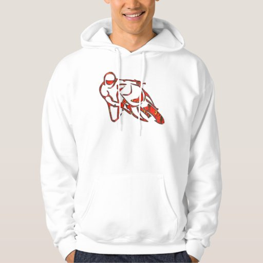 Motorcycle Logo Leaning Into Curve Red Streaks Hooded Sweatshirts