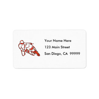 Motorcycle Logo Leaning Into Curve Red Streaks Address Label