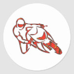 Motorcycle Logo Leaning Into Curve Red Streaks Round Stickers