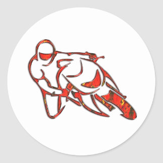 Motorcycle Logo Leaning Into Curve Red Streaks Classic Round Sticker