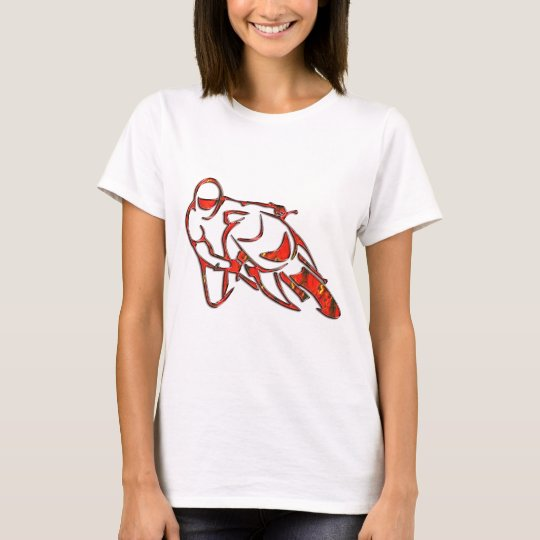 Motorcycle Logo Leaning Into Curve Red Streaks T-Shirt