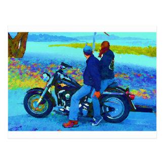 Motorcycle Lovers on the Beacg Postcard