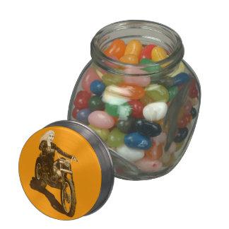Motorcycle Mama Glass Candy Jars