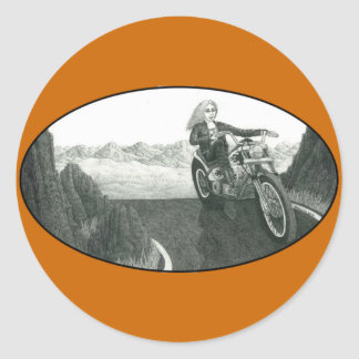 Motorcycle Mama Classic Round Sticker